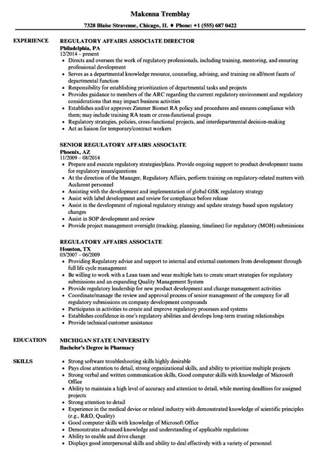regulatory affairs resume sle regulatory affairs associate resume sles