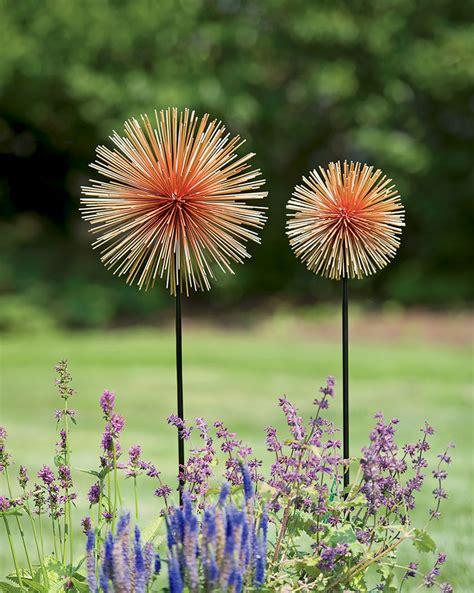metal flower garden stakes metal flowers set of 2 allium sunburst stakes