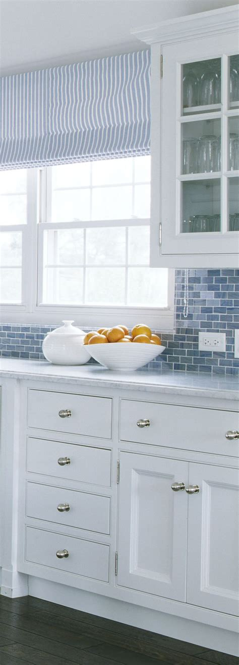 This Crisp And Clean Blue And White Kitchen Has A Definite Cleaning White Kitchen Cabinets