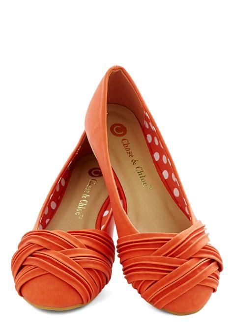 orange shoes flats fresh steps flat mod retro vintage flats modcloth