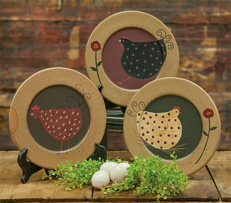 Country Plates Home Decor country farmhouse chicken wooden home decor plate set