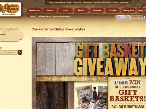Cracker Barrel Sweepstakes - cracker barrel old country store inc gift basket giveaway sweepstakes