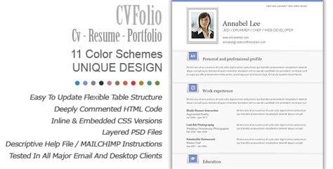 cv folio cv resume portfolio email newsletter template on behance