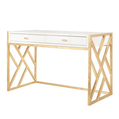 white and gold office desk away cordelia white lacquer desk with gold leaf