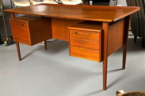 mid century teak two sided desk at 1stdibs