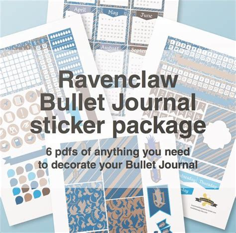 printable stickers journal ravenclaw bullet journal stickers package a4 printable
