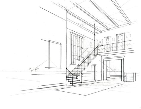Interior Perspective Drawing by Pin Interior Perspective Drawing On