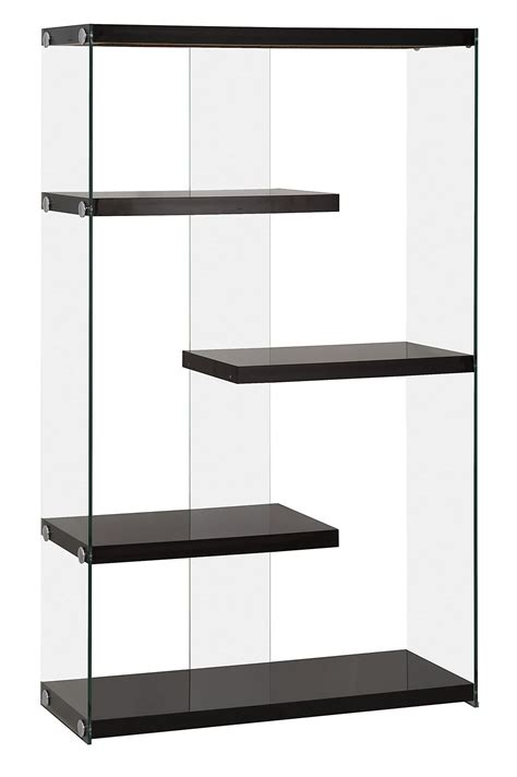800608 glossy black side glass bookcase from coaster