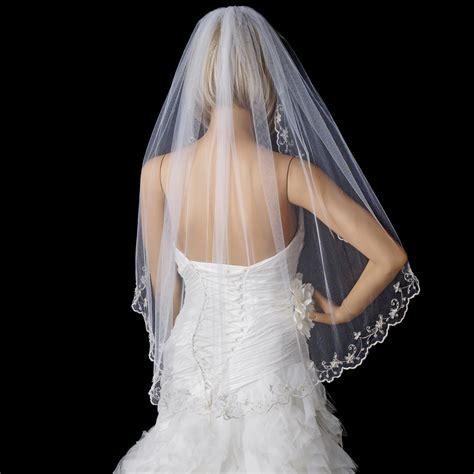 Floral Wedding Veil vintage scalloped floral bridal veil