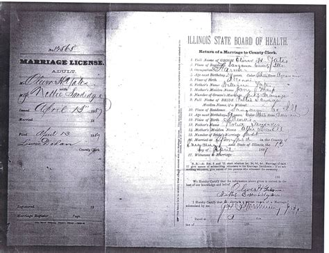 Sangamon County Marriage Records Yates William W And Sharpe Oswald Peterson Family