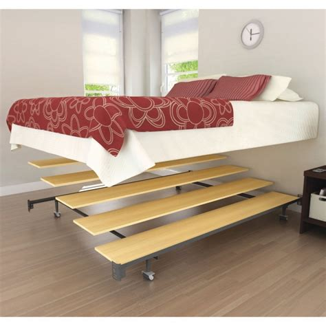 Modern Bedroom Furniture Queen Platform Metal Floating Bed Frame With Wooden Base As A Stair