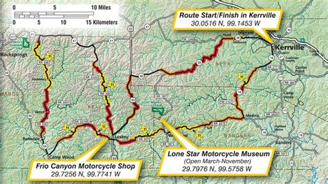 texas hill country road trip map map of the three motorcycle route in the beautiful hill country of texas in the