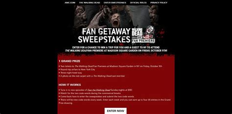 Amc Sweepstakes - amc com fangetawaysweepstakes amc s the walking dead fan getaway sweepstakes
