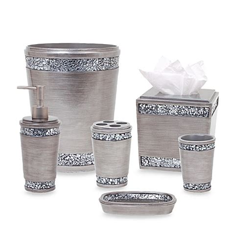 bed bath and beyond bathroom accessories omni bath ensemble in pewter bedbathandbeyond com