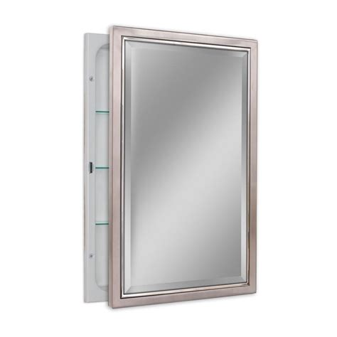 chrome framed medicine cabinet deco mirror 16 in w x 26 in h x 5 in d classic framed