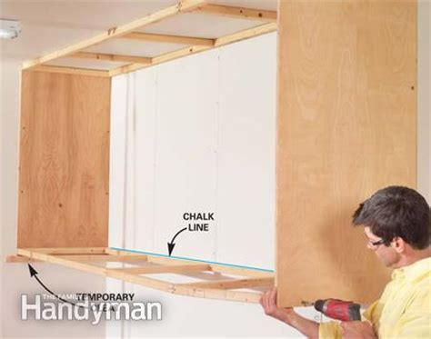 How To Build Garage Cabinets Easy by Installing Large Garage Cabinets The Family Handyman