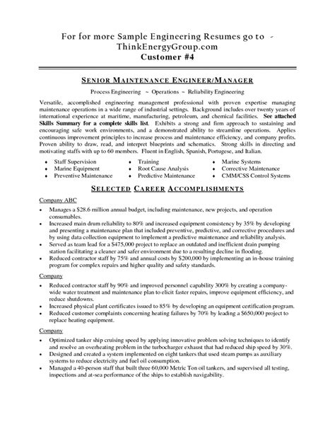 Marine Engineer Sle Resume by Career Objective For Marine Engineers 28 Images Electrical Engineering Resume Objective
