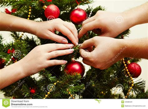 decorating the christmas tree stock photo image 34588420