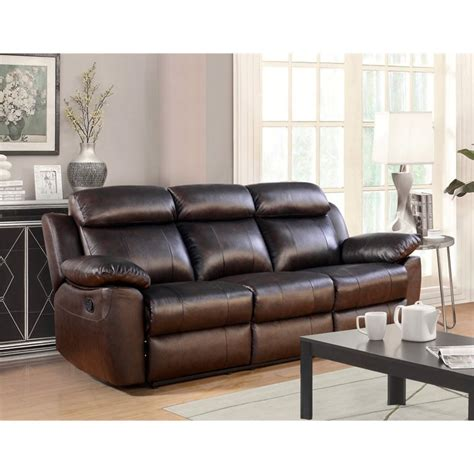 Abbyson Leather Sofa Abbyson Living Brody Top Grain Leather Reclining Sofa In Brown Sk 1371 Brn 3