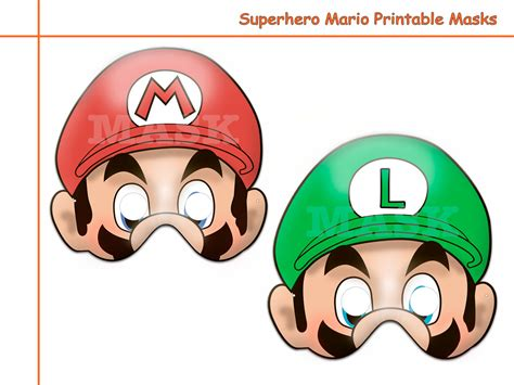Printable Luigi Mask   unique hero mario printable masks birthday photo props kids