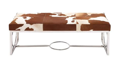 cow print bench cow print leather bench with stainless steel framework