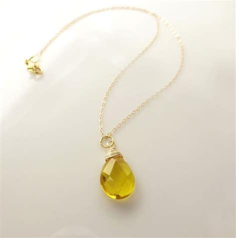 Yellow Neckles yellow quartz tear drop necklace honey necklace yellow