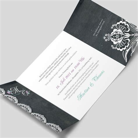 Einladungskarten Mit Spitze by Edle Hochzeitseinladungskarte Im Vintagestil Schiefer