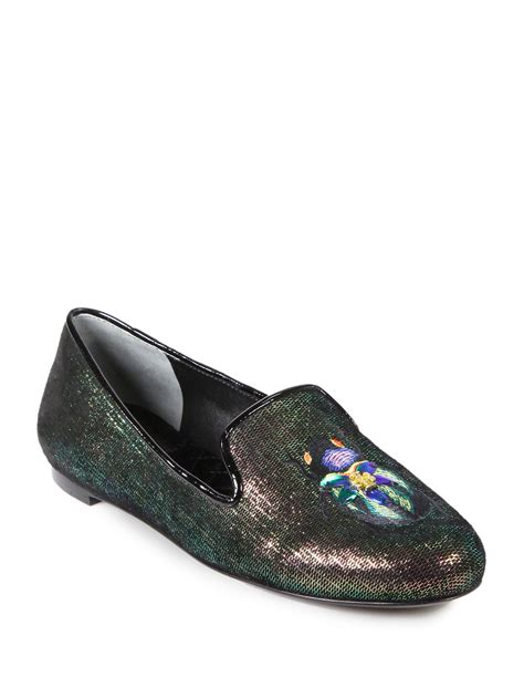 burch slippers burch cailyn iridescent leather slippers in