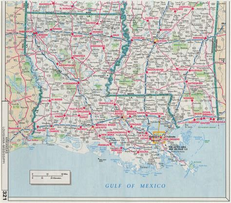 road map of louisiana usa index of maps