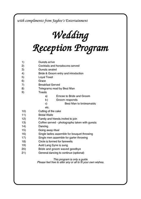 Wedding Reception Program Outline Agenda   with