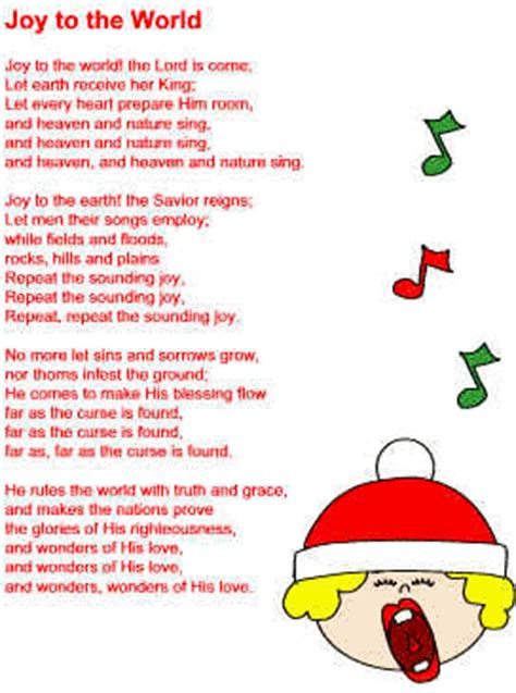printable lyrics joy to the world joy to the world