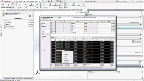 Solidworks 2017 Costing Youtube Solidworks Costing Template