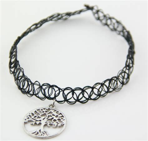 tattoo choker necklace history 80s 90s vintage stretch tree of life tattoo choker
