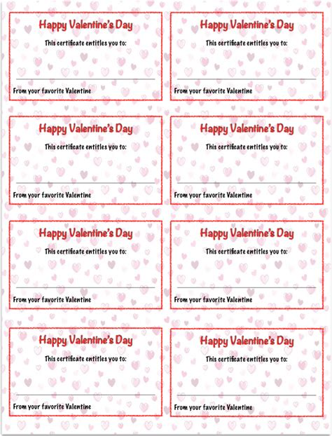 valentine s day printables gift certificates the