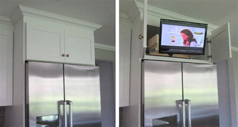 tv above refrigerator kitchen ideas pinterest reader redesign bring your tuxedo young house love