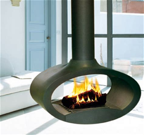 suspended wood fireplace from brisach ovalie fireplace