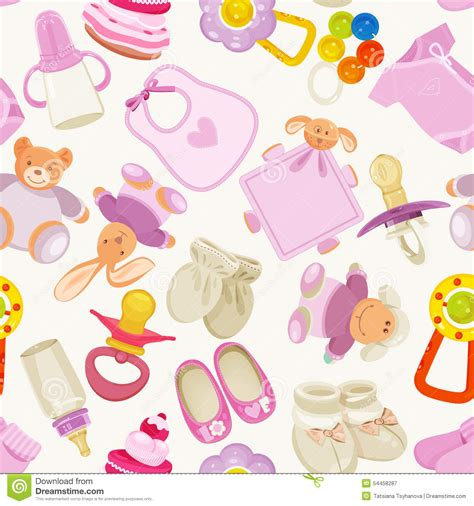 colorful baby seamless pattern with colorful baby items for newborn