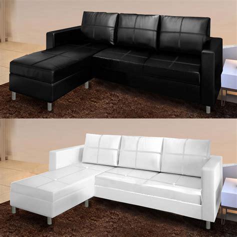 divano angolare divano angolare roma con pouf 205 cm ecopelle bianco nero