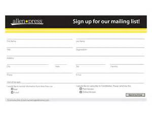 mailing list templates mailing list form template sign up for our mailing list email list template 10 free word excel pdf format