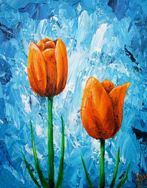 how to paint acrylic on canvas flowers tulips painting orange flowers acrylic painting 8x10 by