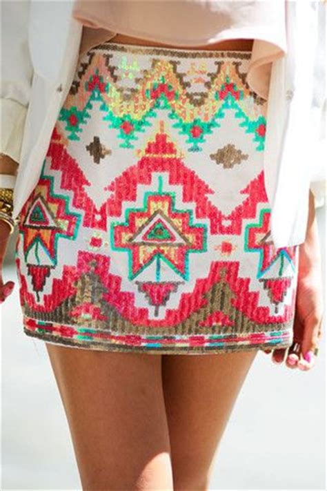 tribal pattern skirt tribal sequin skirt white coral knee length is more my