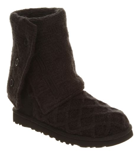 knitted boots womens ugg australia lattice cardy black knit boots ebay
