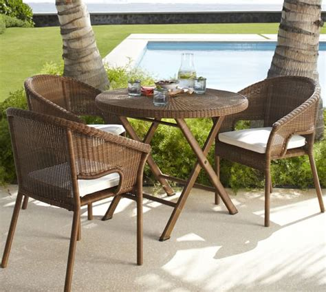 pottery barn bistro table palmetto all weather wicker folding bistro table