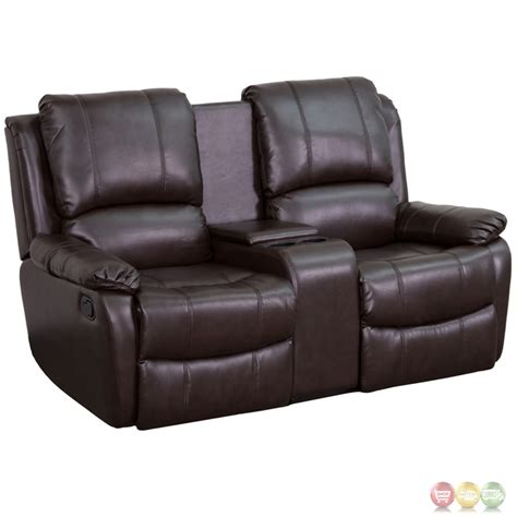 pillow recliner allure 2 seat reclining pillow back brown leather theater