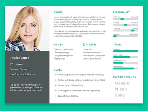 User Persona Template Freebie Download Photoshop Resource Psd Repo Best Persona Template