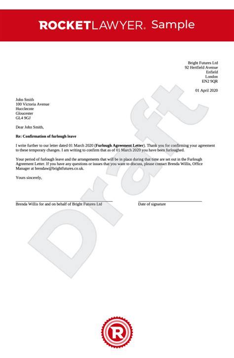 furlough leave confirmation letter uk