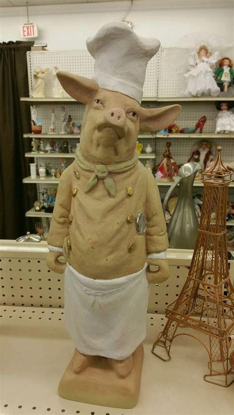 stand up pig statue restaurant decor chef kitchen bbq