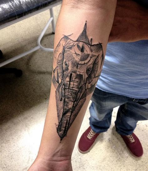 elephant tattoo under arm geometric dotwork elephant tattoo on forearm