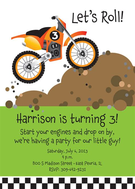 Dirt Bike Birthday Party Invitations Boys Invitation Wording Birthdays And Boys Motorcycle Birthday Invitation Templates