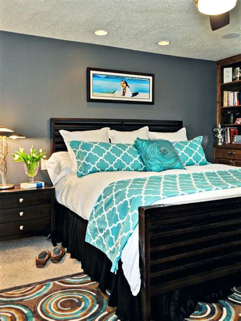 grey bedroom with teal accents eclectic bedroom photos hgtv